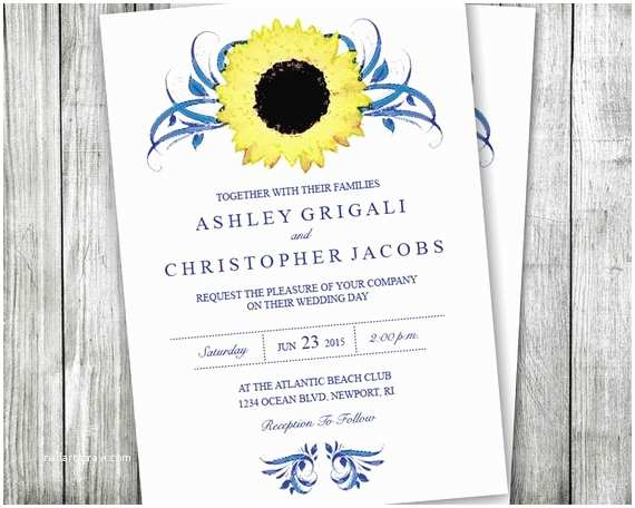 Navy Blue and Sunflower Wedding Invitations Sunflower and Navy Blue Wedding Invitations by Vginvites