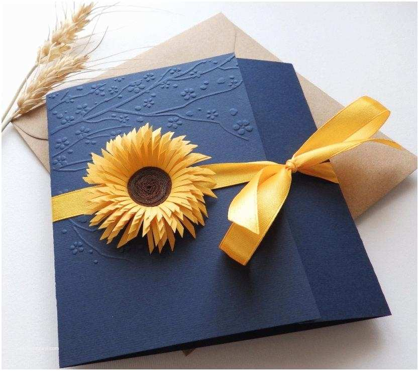 Navy Blue and Sunflower Wedding Invitations Sunflower Handmade Wedding Invitation Country Invitation