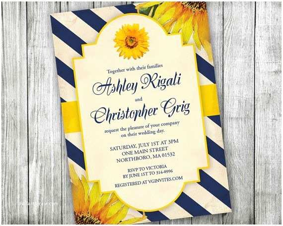 Navy Blue and Sunflower Wedding Invitations Sunflower Invitation Wedding Bridal Shower Baby Shower