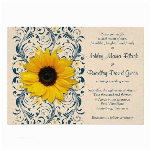 Navy Blue and Sunflower Wedding Invitations Sunflower Navy Blue Floral Wedding Invitation
