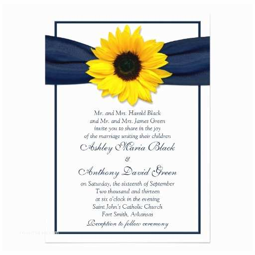Navy Blue and Sunflower Wedding Invitations Sunflower Navy Blue Ribbon Wedding Invitation 13 Cm X 18