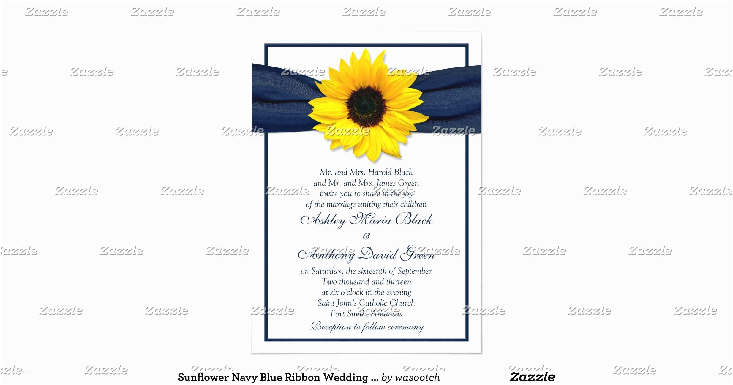 Navy Blue and Sunflower Wedding Invitations Sunflower Navy Blue Ribbon Wedding Invitation