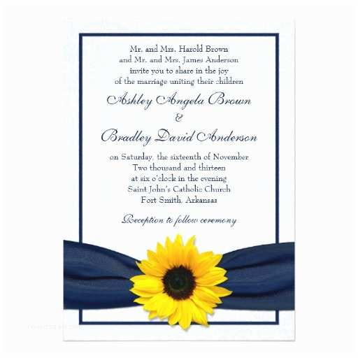 "Navy Blue and Sunflower Wedding Invitations Sunflower Navy Damask Floral Wedding Invitation 5"" X 7"