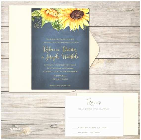 Navy Blue and Sunflower Wedding Invitations Sunflower Wedding Invitations Wedding Invitation Navy Blue