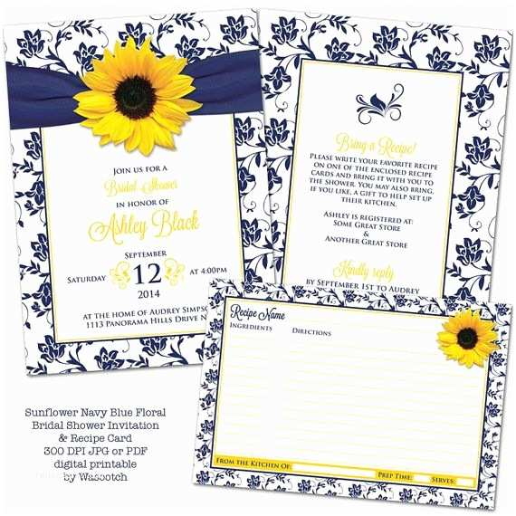 Navy Blue and Sunflower Wedding Invitations Yellow Sunflower Navy Blue and White Floral Damask and
