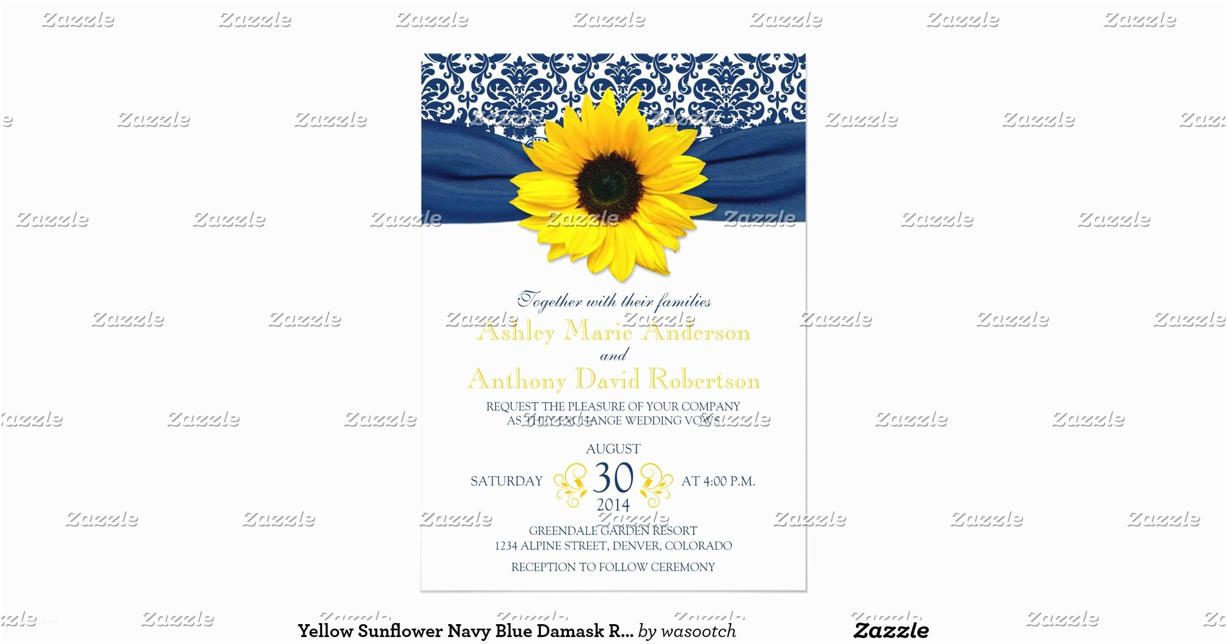 Navy Blue and Sunflower Wedding Invitations Yellow Sunflower Navy Blue Damask Ribbon Wedding 5x7 Paper