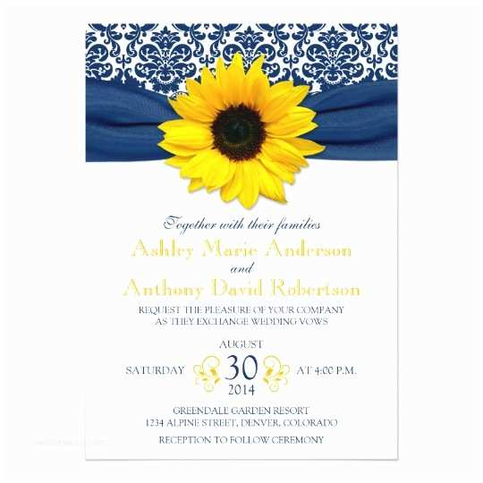 Navy Blue and Sunflower Wedding Invitations Yellow Sunflower Navy Blue Damask Ribbon Wedding Card