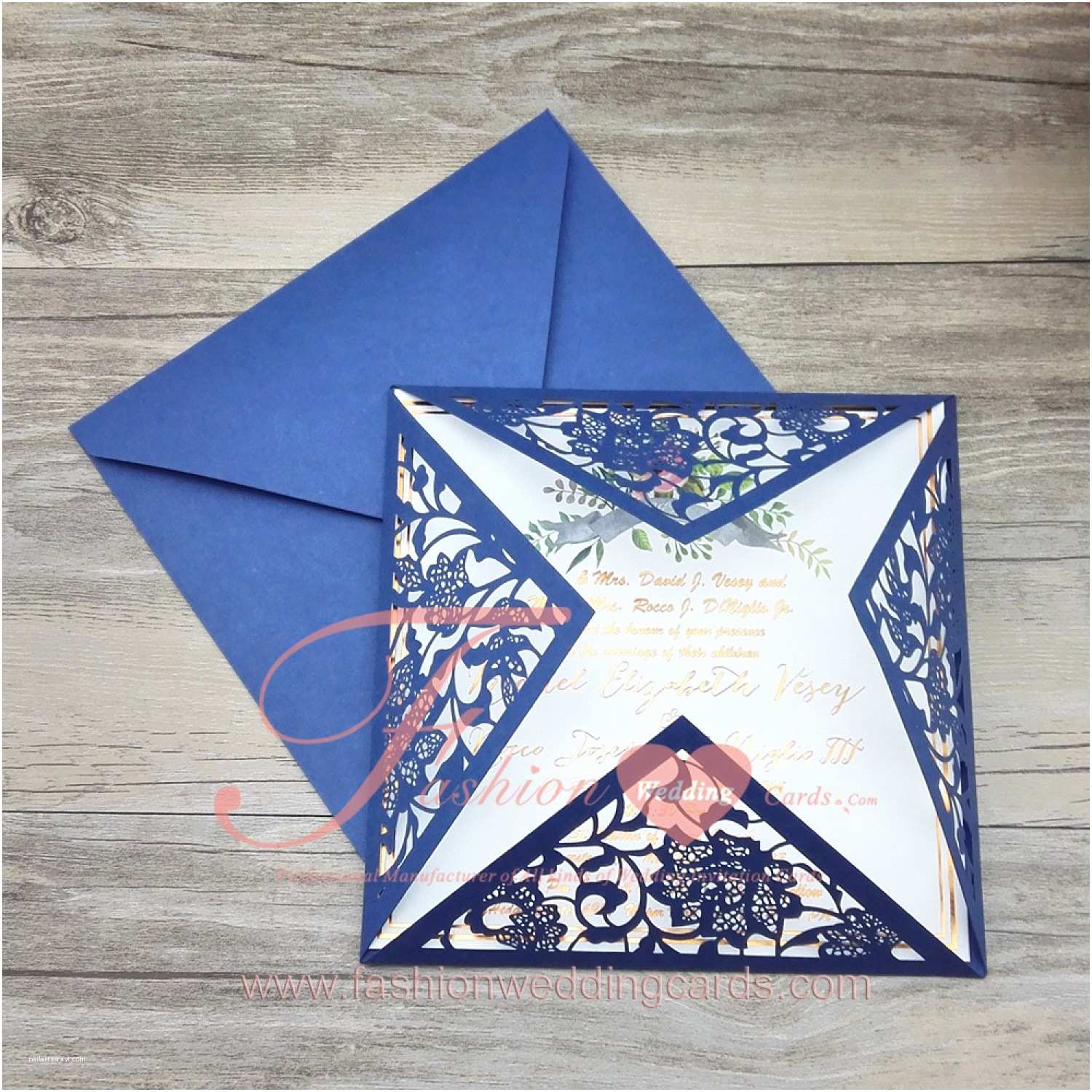 Navy Blue and White Wedding Invitations Cheap Laser Cut Wedding Invitations