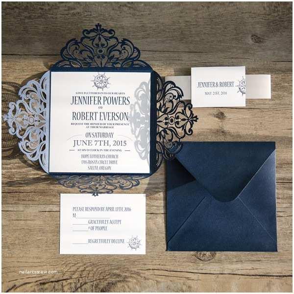 Navy Blue and White Wedding Invitations Classic Nautical Navy Blue Laser Cut Wedding Invitations