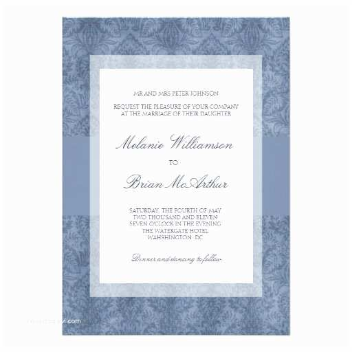 "Navy Blue and White Wedding Invitations Damask Wedding Invitations Navy Blue White 5"" X 7"