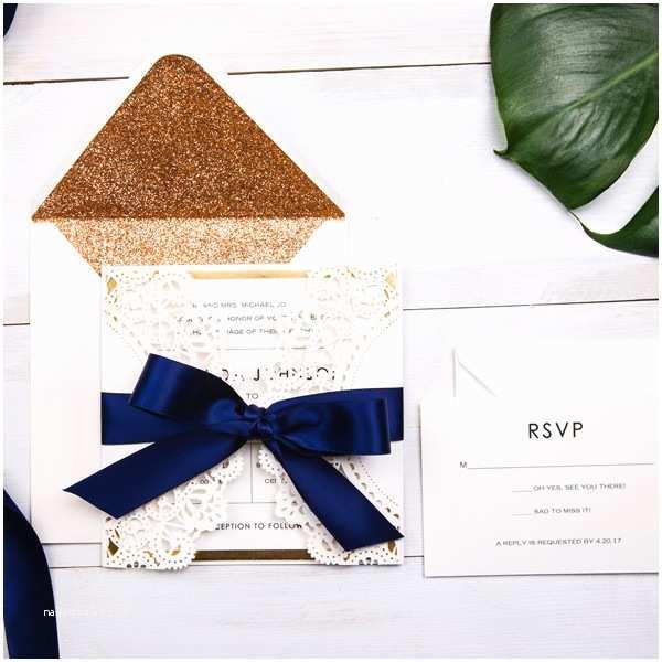 Navy Blue and White Wedding Invitations Luxury Pearl White Laser Cut Wedding Invitations with Navy