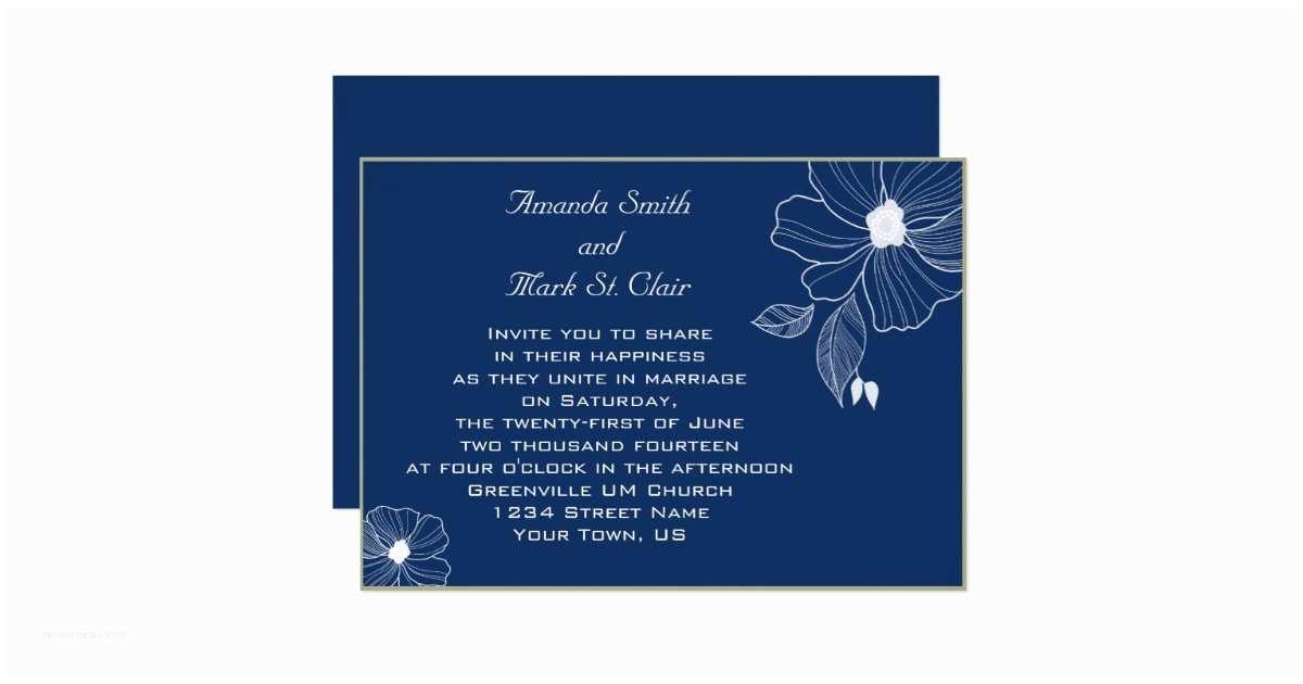 Navy Blue and White Wedding Invitations Modern Navy Blue and White Wedding Invitation