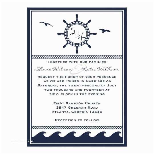 Navy Blue and White Wedding Invitations Nautical Navy Blue and White Wedding Invitations