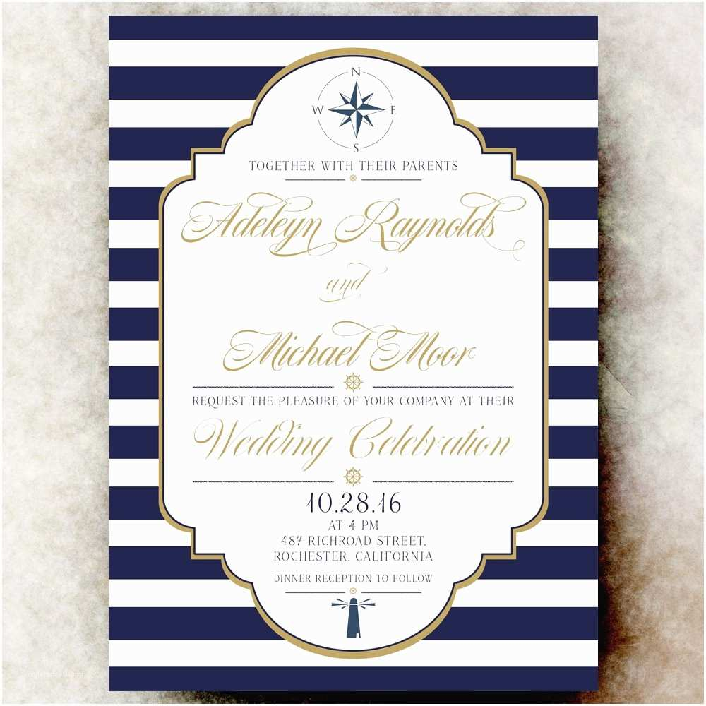 Navy Blue and White Wedding Invitations Nautical Wedding Invitation Navy Blue Wedding Invitation