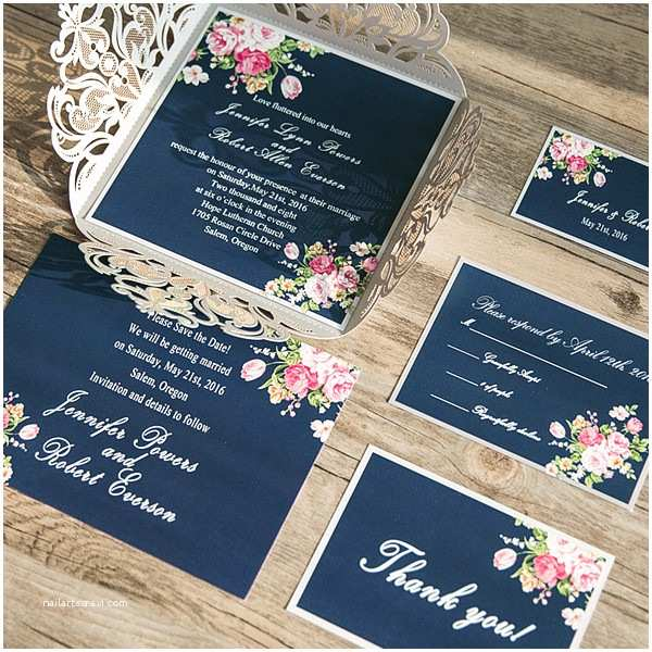 Navy Blue and White Wedding Invitations Navy Blue Floral Silver Laser Cut Invitations Ewws090 as