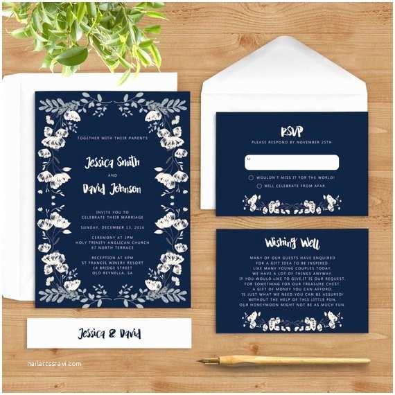 Navy Blue and White Wedding Invitations Navy Blue Wedding Invitation White Flowers Invite Floral