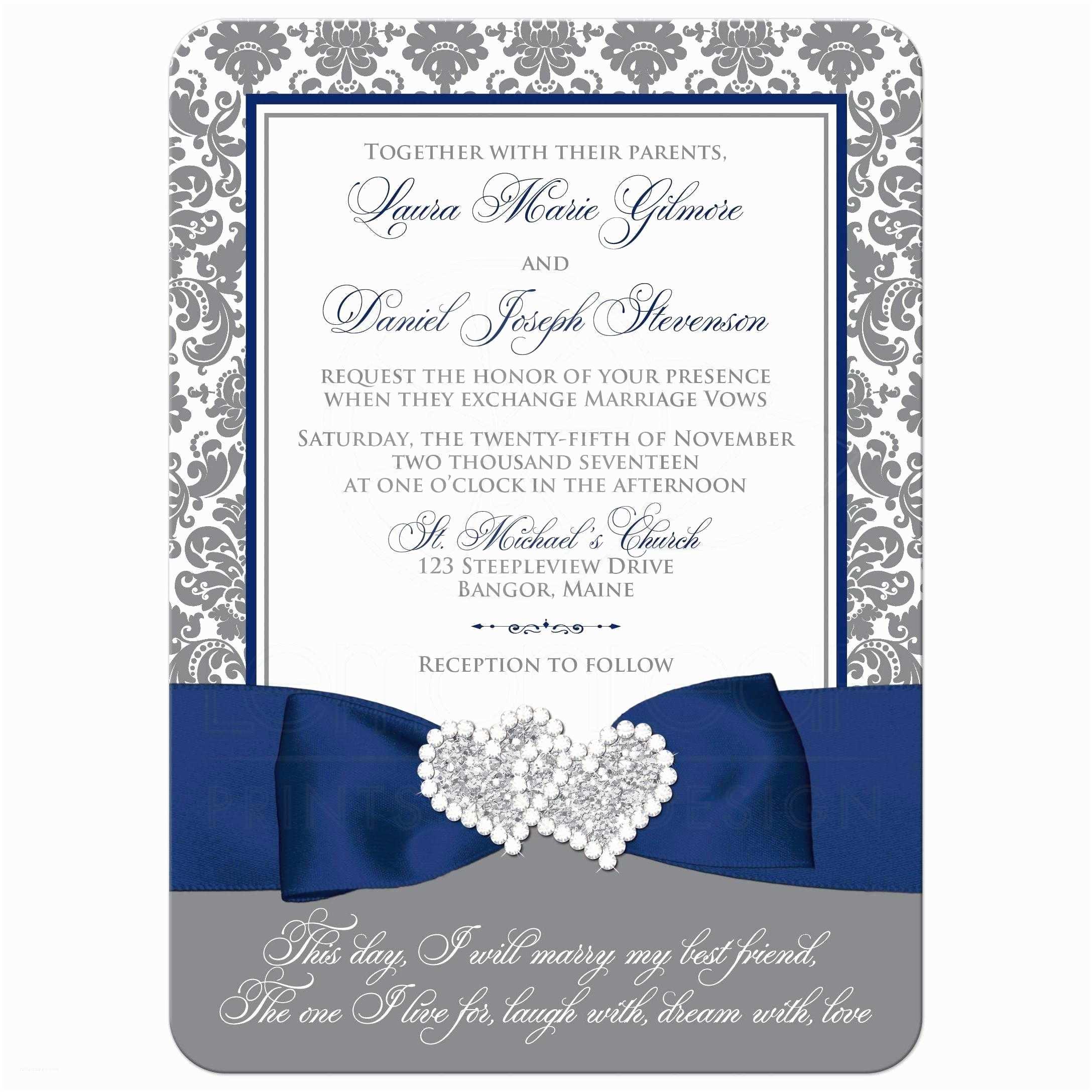 Navy Blue and White Wedding Invitations Navy Blue White and Gray Damask Wedding Invitation