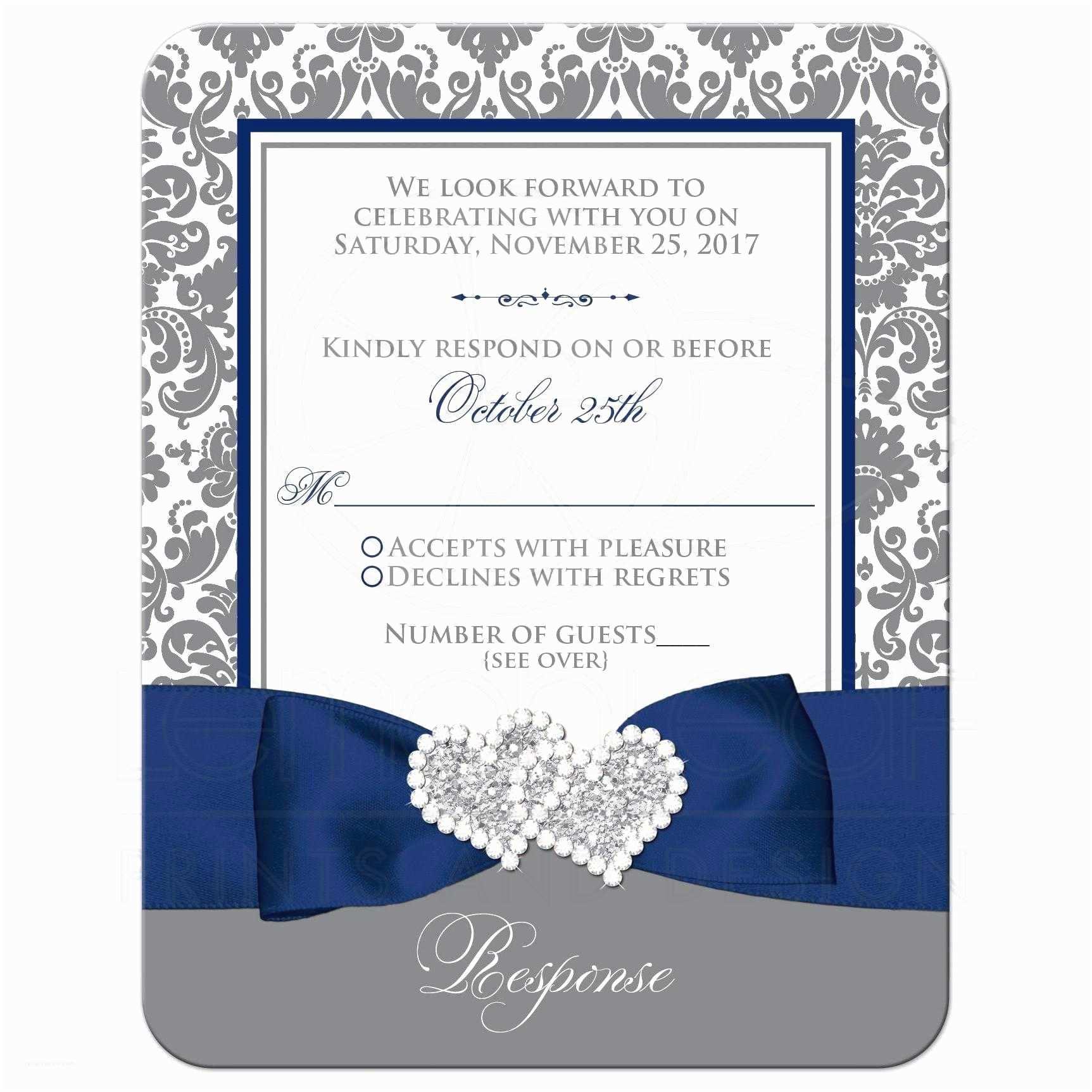 Navy Blue and White Wedding Invitations Navy Blue White Grey Damask Wedding Response Card