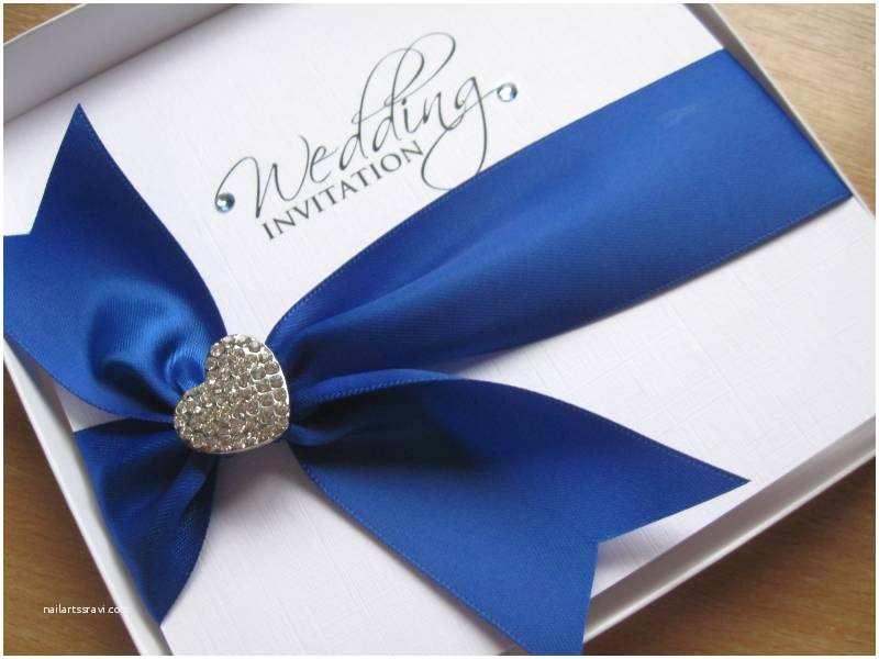 Navy Blue and White Wedding Invitations Royal Blue Wedding Invitation with Heart Embellishment