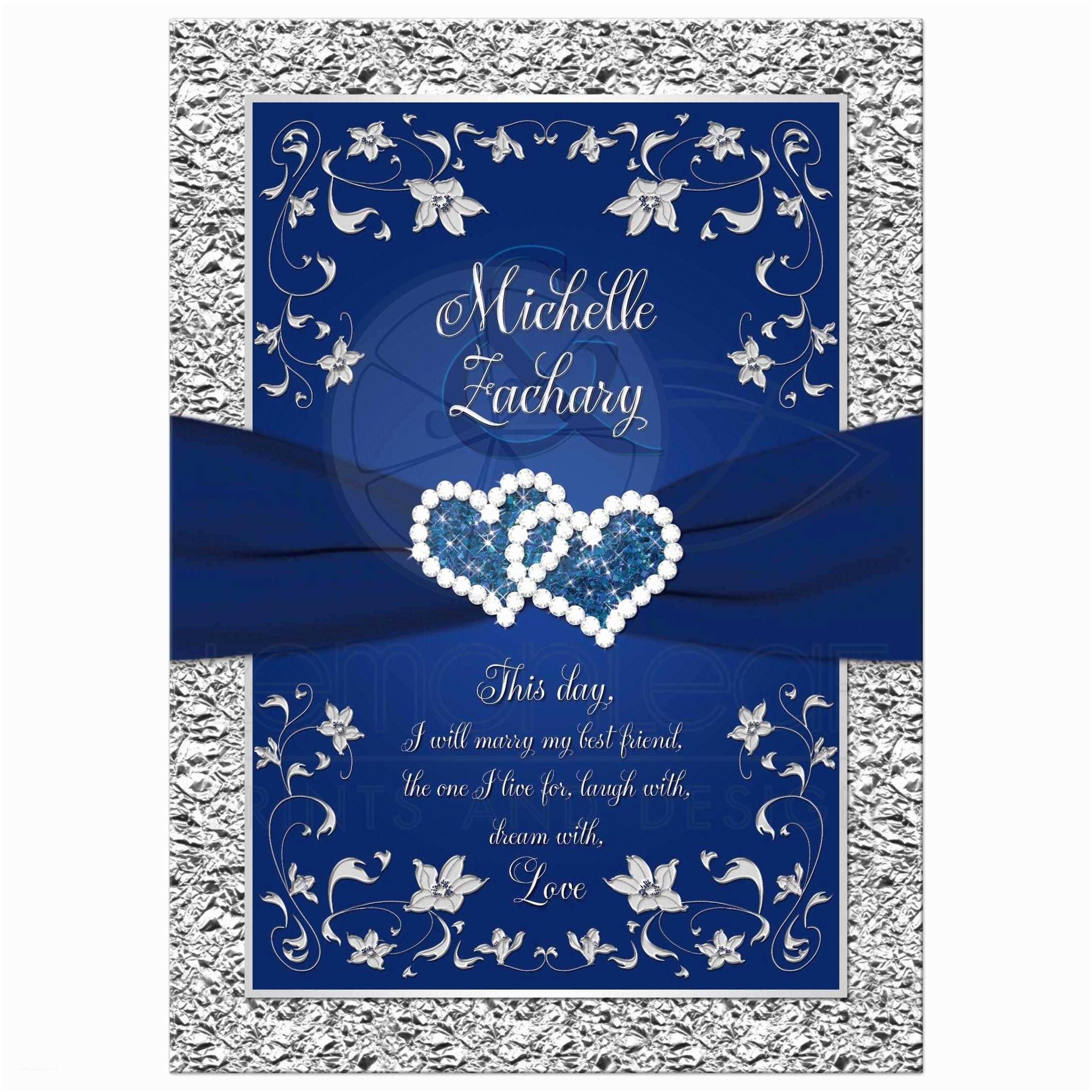 Navy Blue and White Wedding Invitations Wedding Invitation Navy Blue Silver
