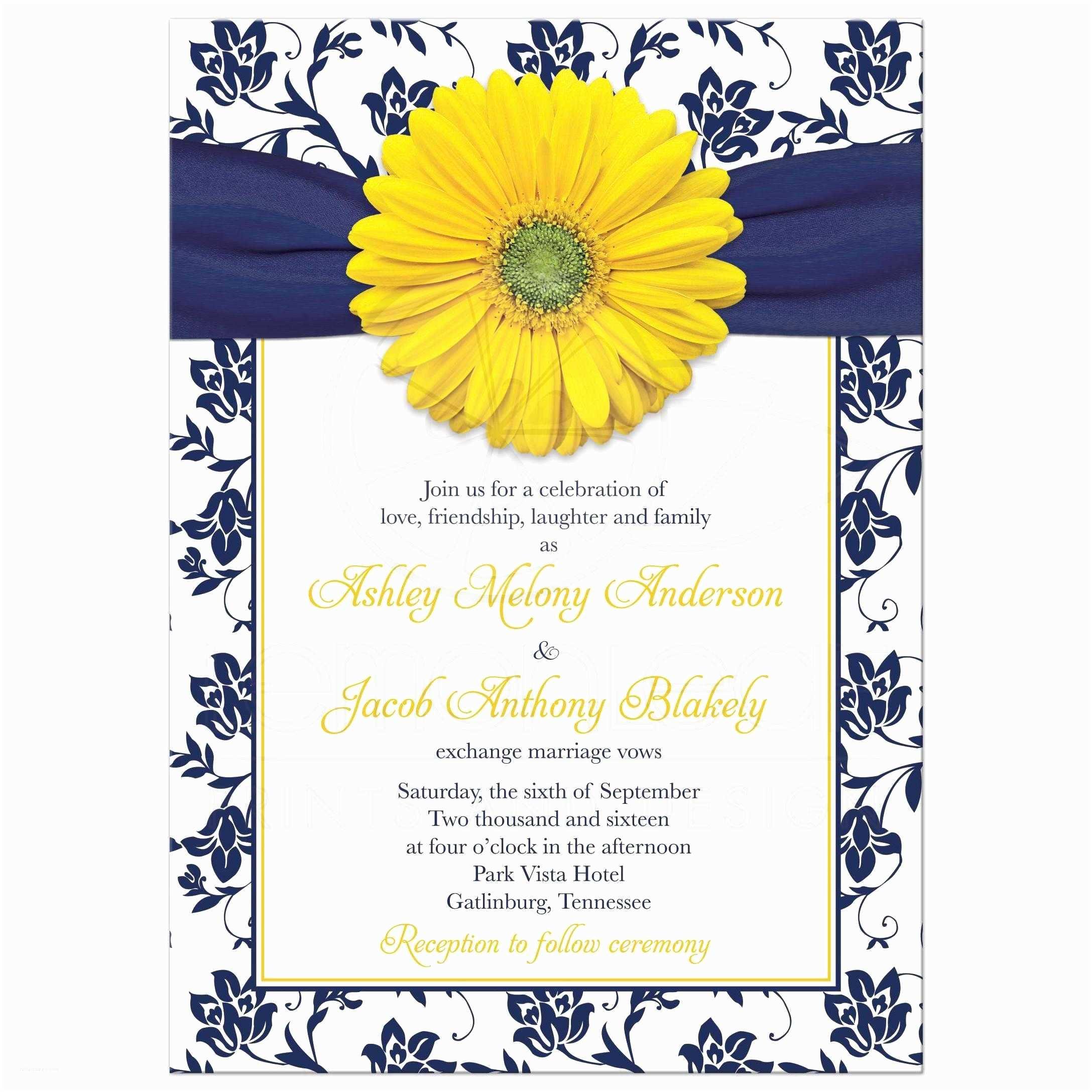 Navy Blue and White Wedding Invitations Yellow Daisy Navy Floral Wedding Invitation