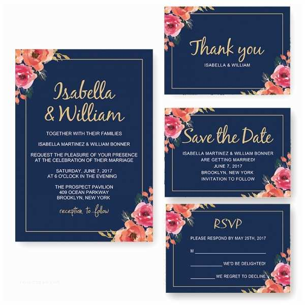 Navy Blue Wedding Invitations Elegant Navy Blue Floral Wedding Invitation Wip006