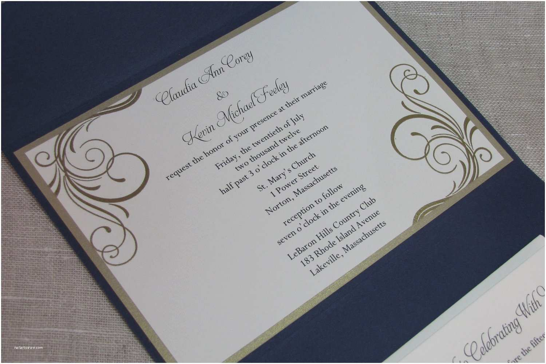 Navy Blue Wedding Invitations Elegant Wedding Invitations Navy Blue Pocketfold Wedding