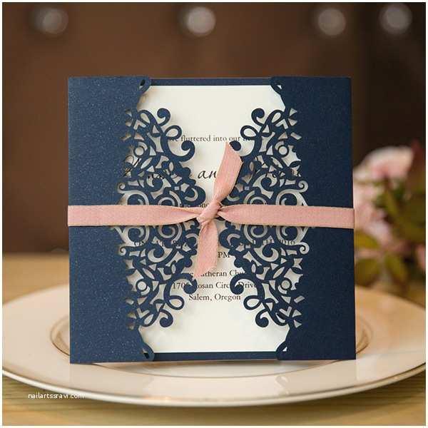 Navy Blue Wedding Invitations formal Navy Blue Laser Cut Wedding Invitation Cards with