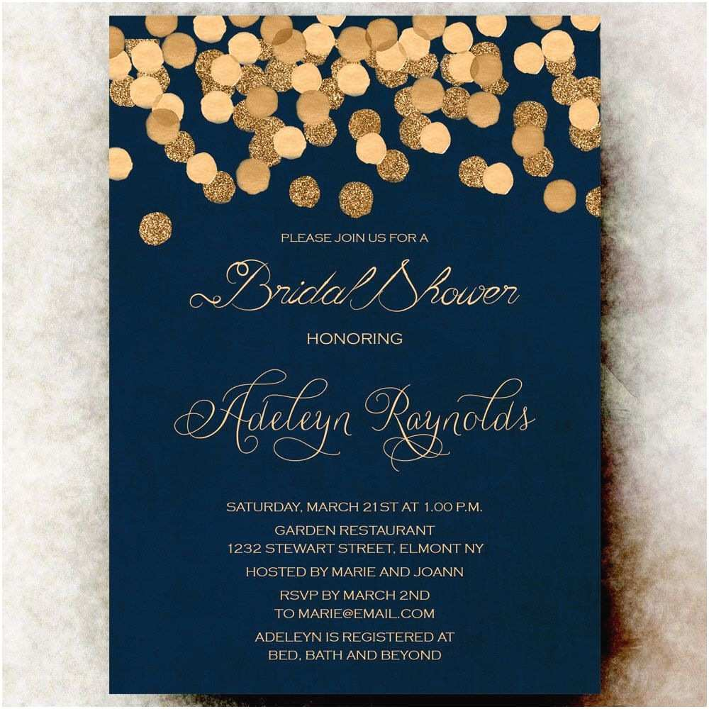 Navy Blue Wedding Invitations Gold Glittering Confetti Bridal Shower Invitation