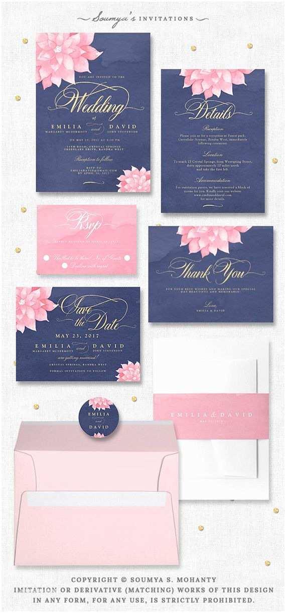 Navy Blue Wedding Invitations Kits 9 Best Navy Blush Gold Dahlia Wedding Images On Pinterest