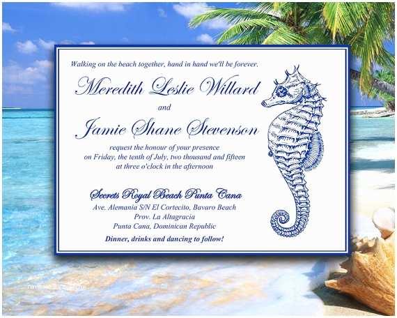 Navy Blue Wedding Invitations Kits Beach Invitation Template
