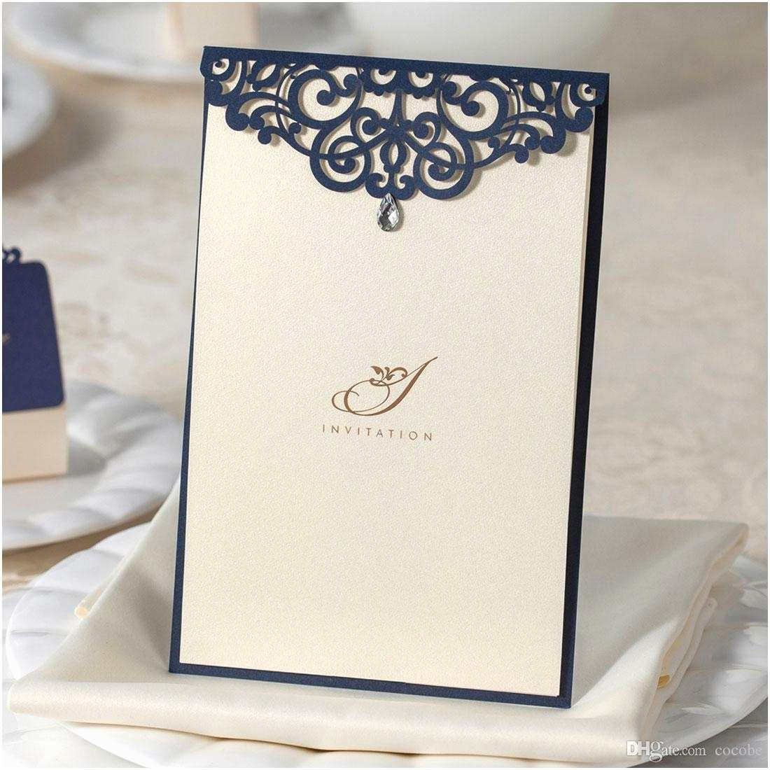 Navy Blue Wedding Invitations Kits Invitation Paper Beige Birthday Laser Cut Wedding