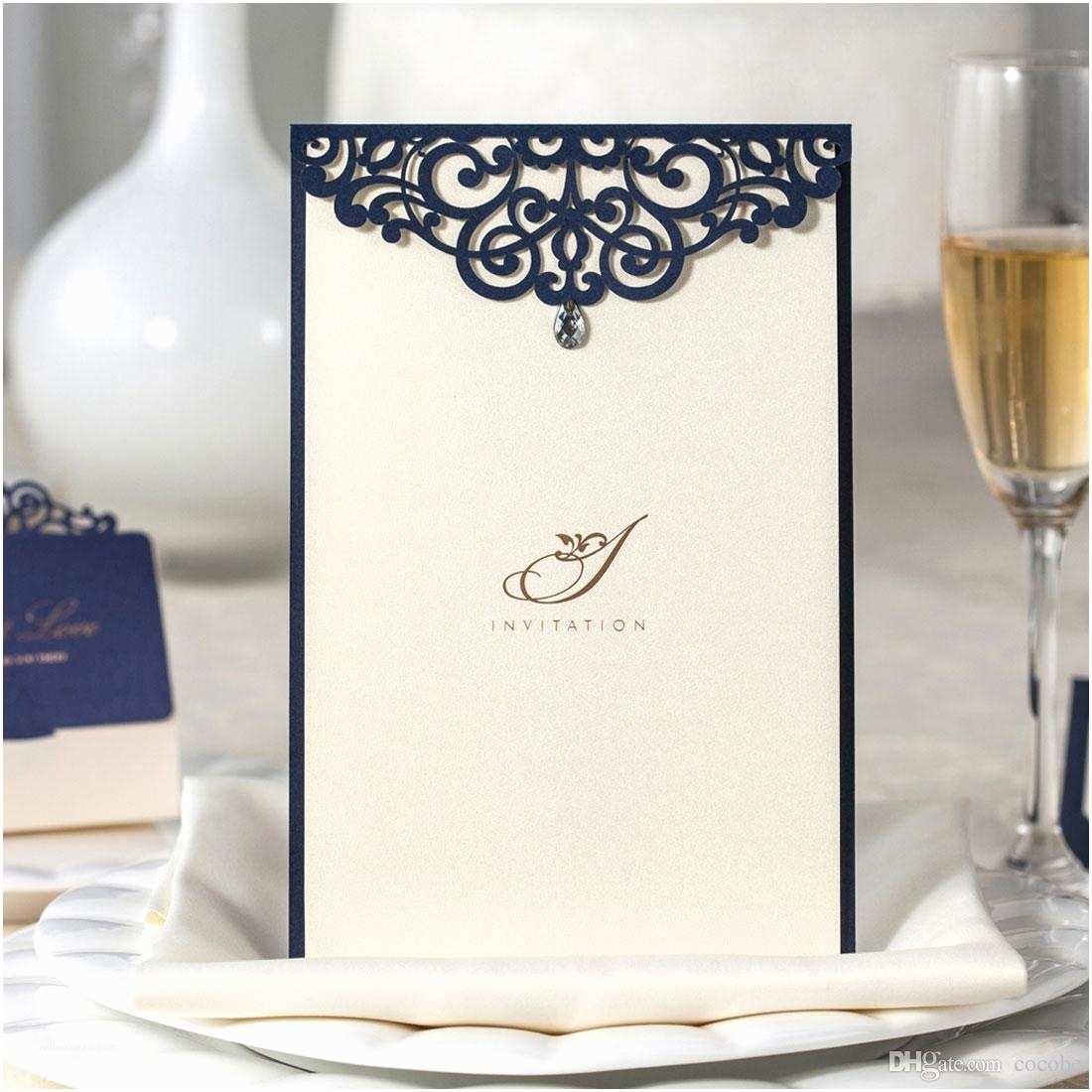 Navy Blue Wedding Invitations Kits Laser Cut Wedding Invitations Kits Navy Blue Lace Floral