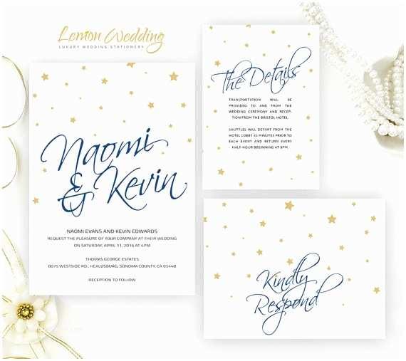 Navy Blue Wedding Invitations Kits Starry Wedding Invitation Kits Printed Cheap Wedding