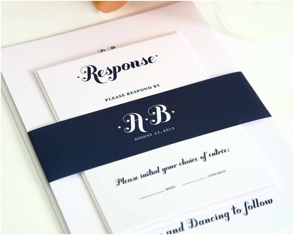 Navy Blue Wedding Invitations Navy Blue Wedding Invitations Whimsy and Script