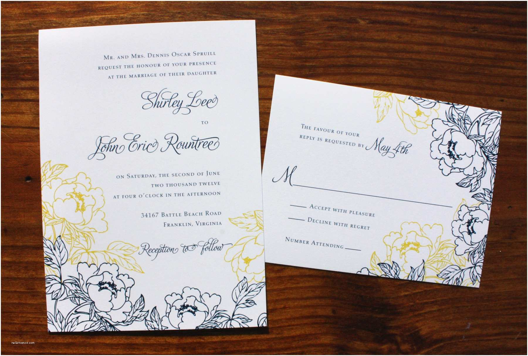 Navy Blue Wedding Invitations Navy Blue Yellow & White Peony Wedding Invitations