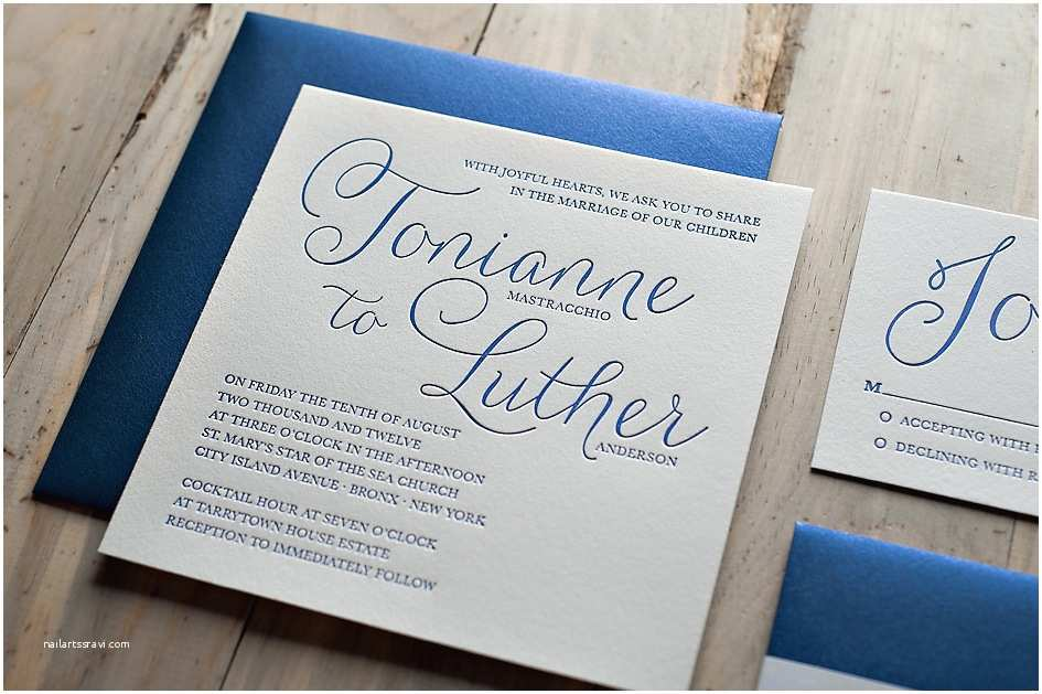 Navy Blue Wedding Invitations Real Wedding tonianne and Luther