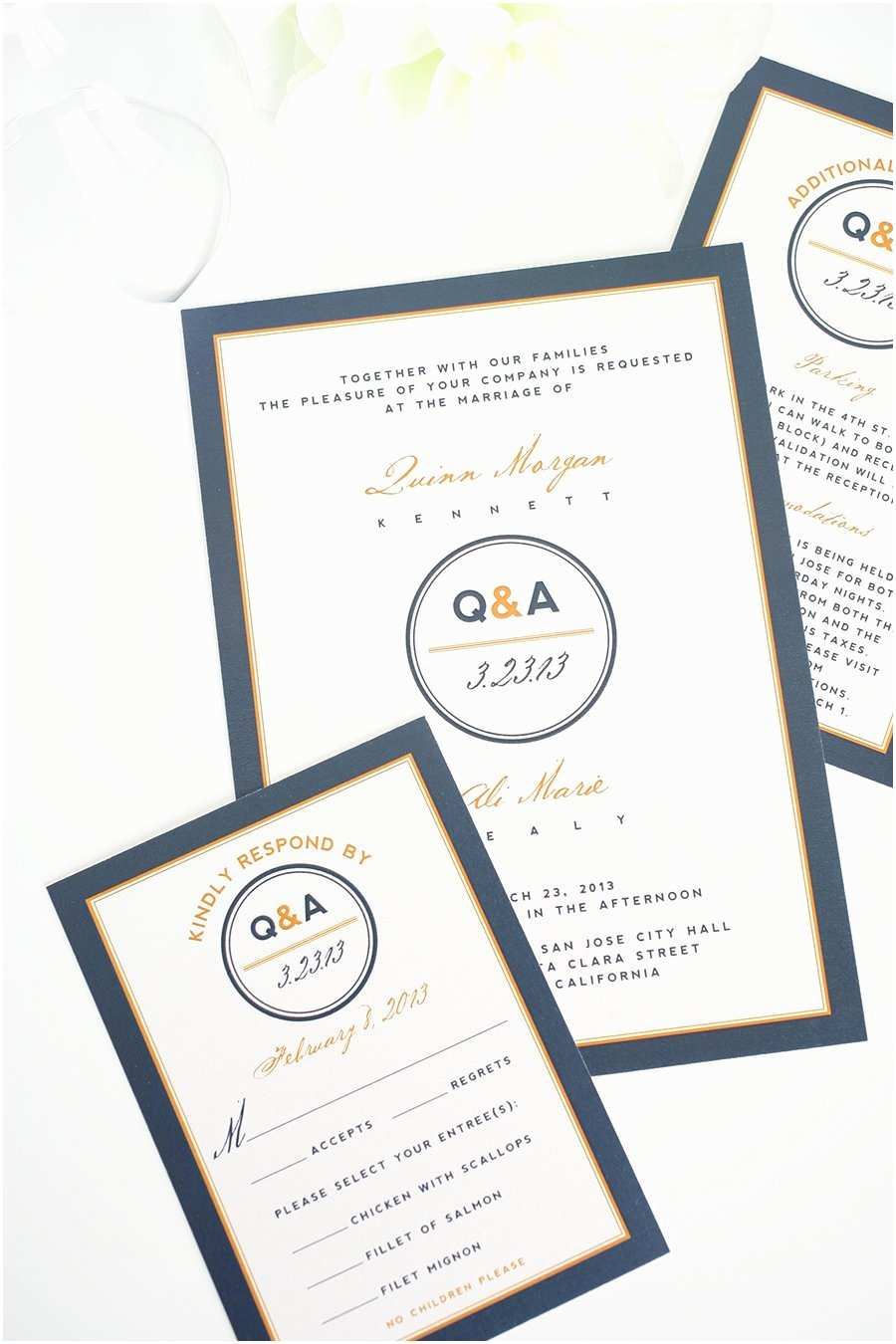 Navy Wedding Invitations Contemporary Wedding Invitations In Navy Blue and orange