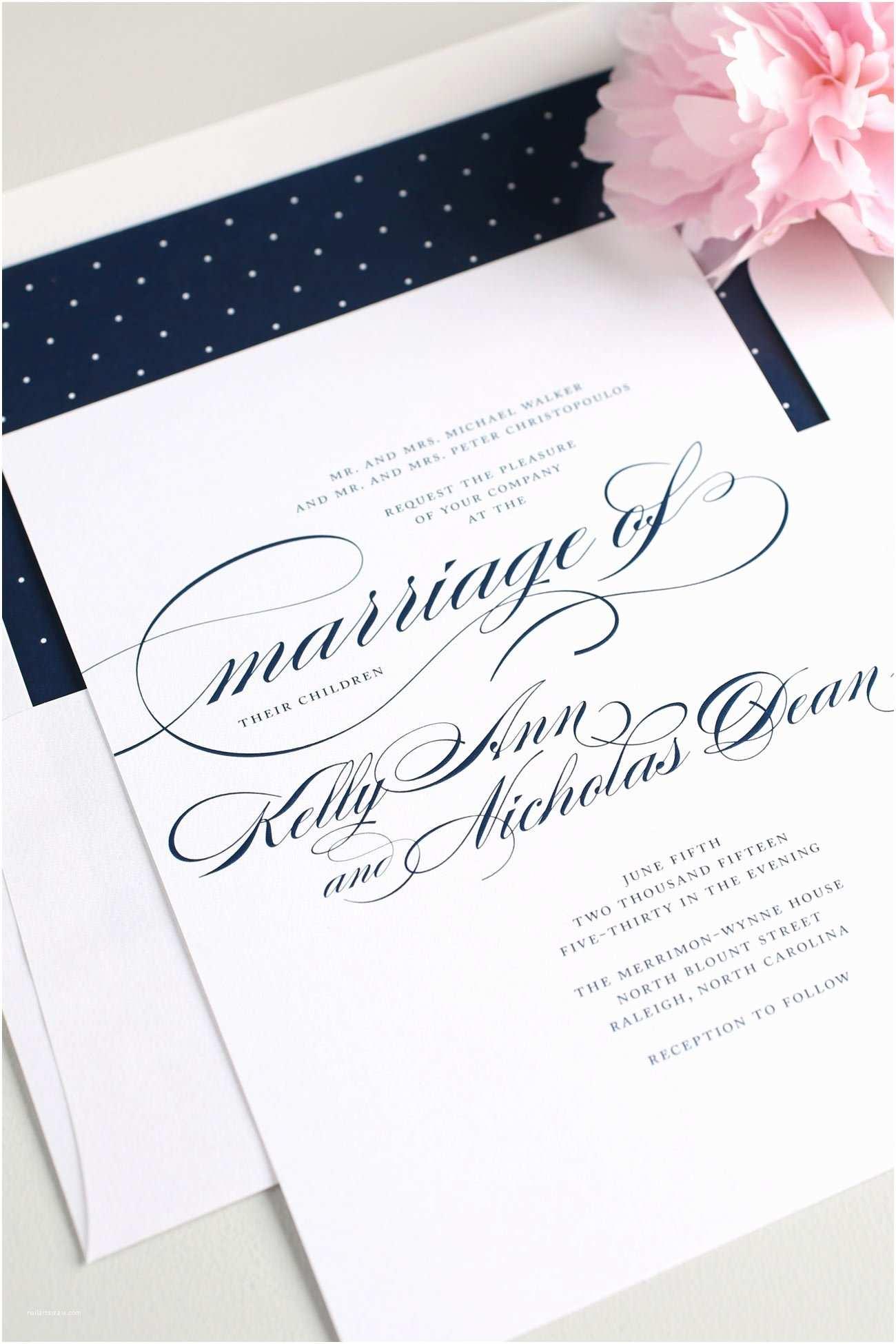 Navy Wedding Invitations Navy Script Wedding Invitations – Wedding Invitations