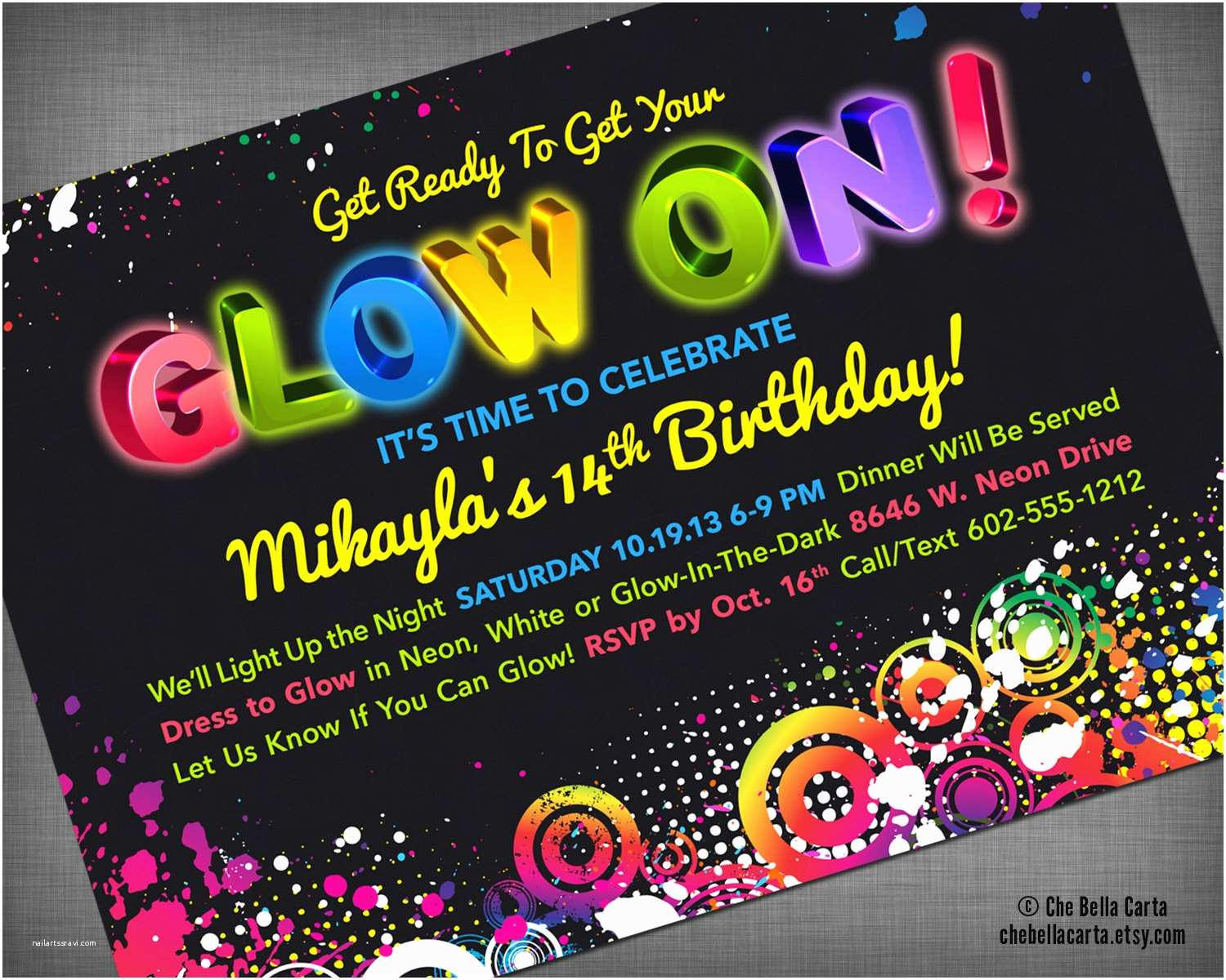Neon Party Invitations Glow Neon Black Light Party Customized Printable Invitation