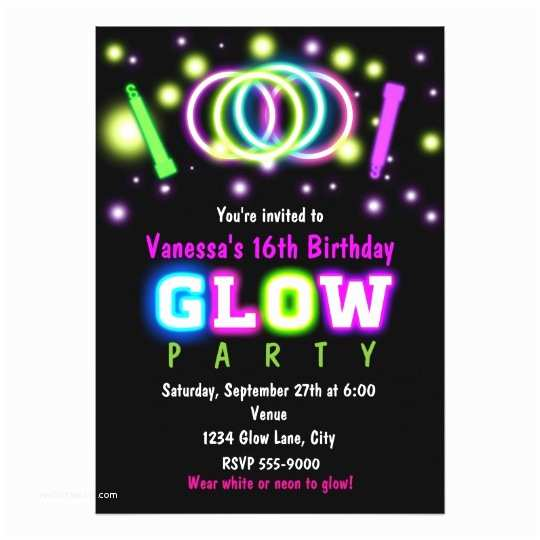 Neon Party Invitations Glow Party Birthday Neon Black Light Invitation