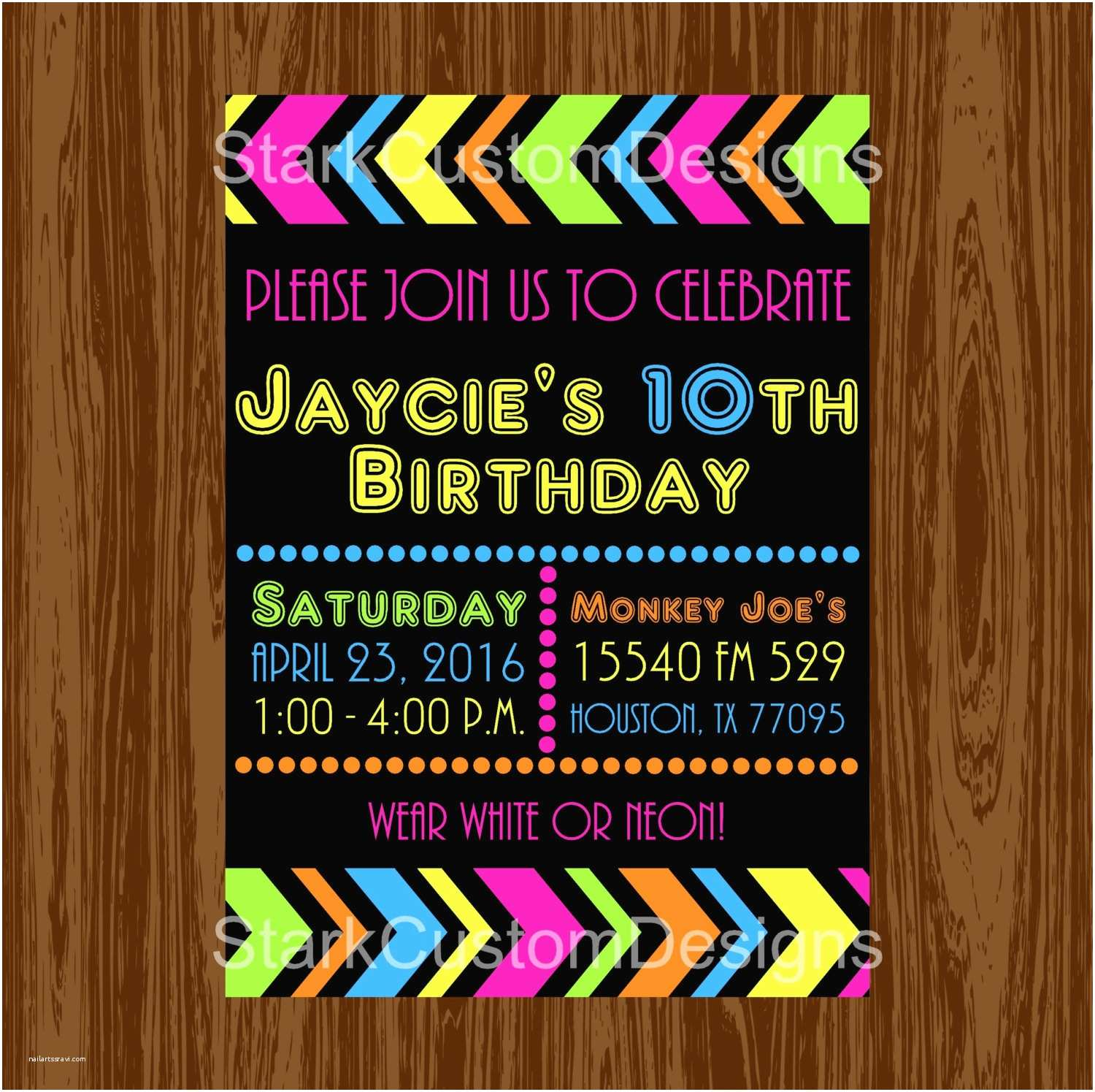 neon birthday party invitation glow in