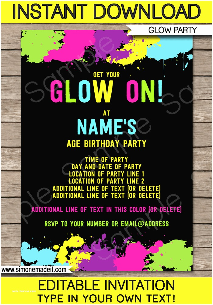 Neon Party Invitations Neon Glow Party Invitations Template
