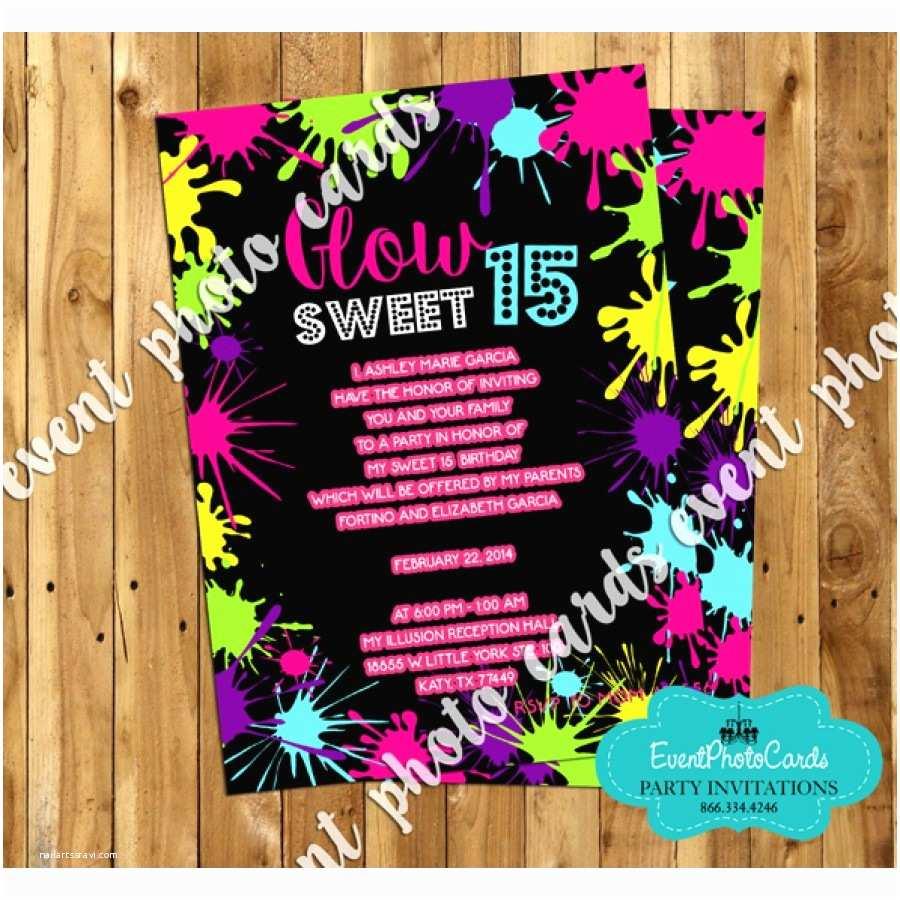 Neon Party Invitations Neon Glow Sweet 15 Invites Quinceanera Birthday