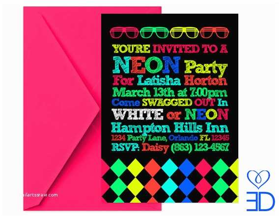 Neon Party Invitations Neon Party Collection Printable 5x7 by Eccentricdesignsbylh