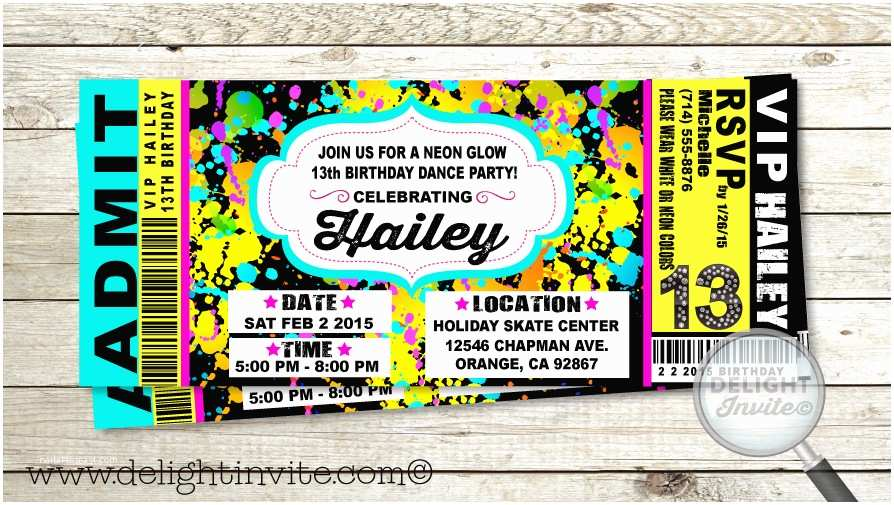 Neon Party Invitations Neon Party Invitations