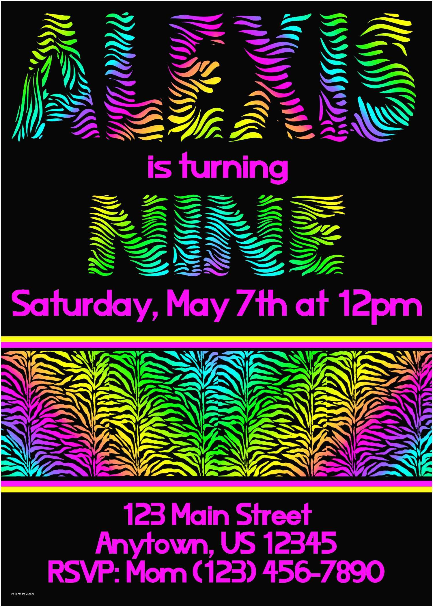 Neon Party Invitations Neon Zebra Party Invitations