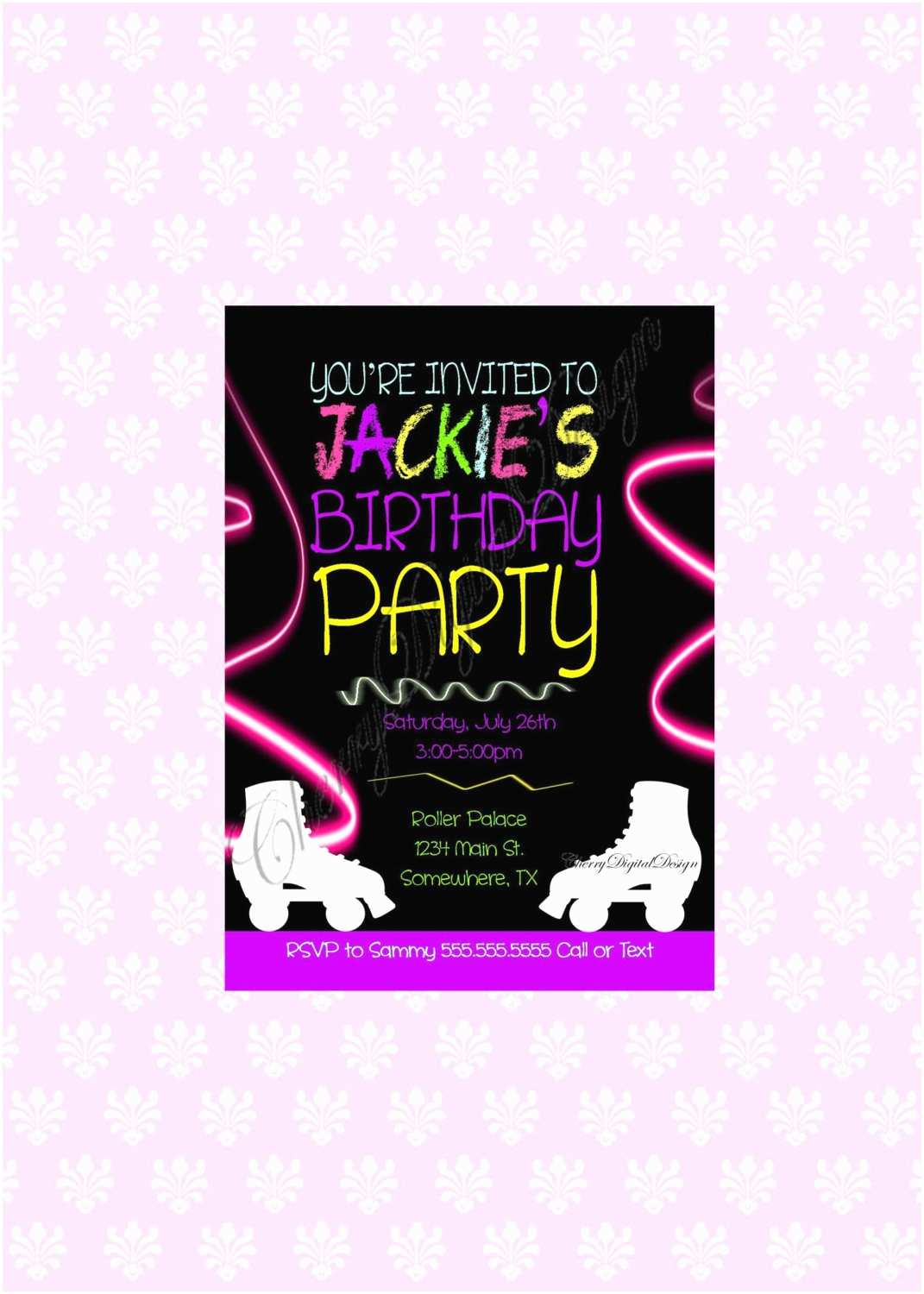 Neon Party Invitations Printed or Printable Neon Roller Skating Birthday Invitation