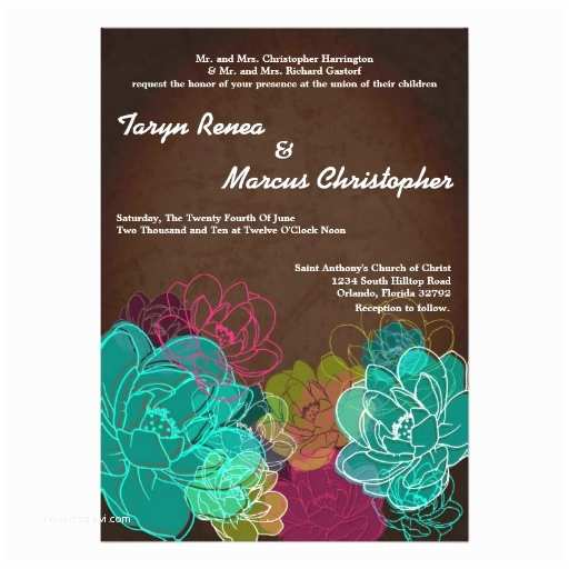 Neon Wedding Invitations 5x7 Neon Spring Floral Flower Wedding Invitation