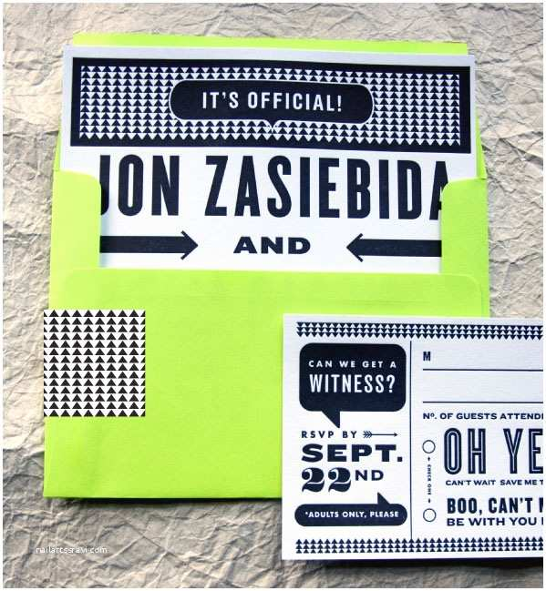 Neon Wedding Invitations Alecia Jon S Black White and Neon Graphic Wedding